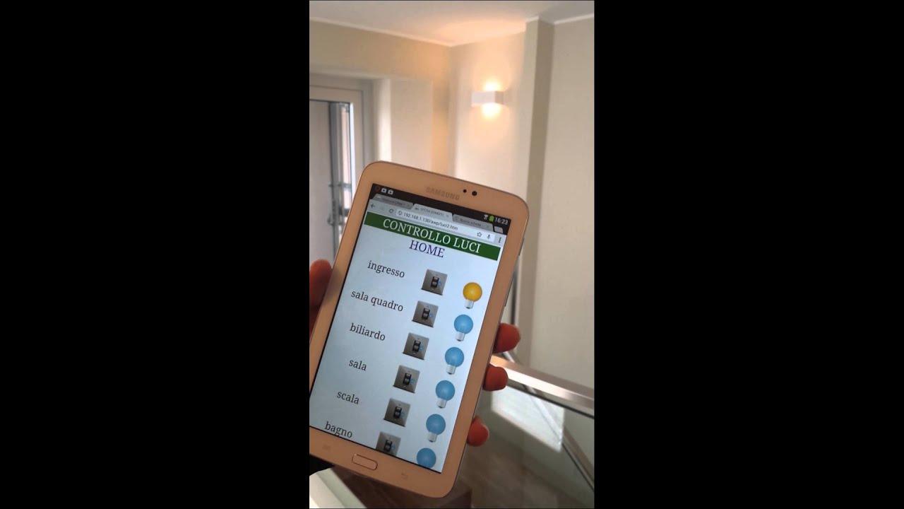 Casa domotica cagliari controllo luci da tablet youtube for Luci tubolari a led