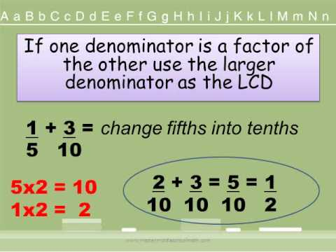 Adding and subtracting fractions strategywmv youtube ccuart Images