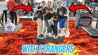 FLOOR IS LAVA CHALLENGE WITH STRANGERS! *KICKED OUT*