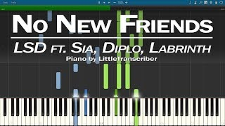 LSD - No New Friends (Piano Cover) ft. Sia, Diplo, Labrinth Synthesia Tutorial by LittleTranscriber