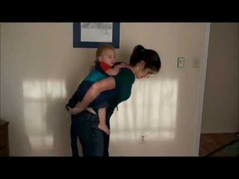 872cd74ece7 Mei Tai Back Carry with a Hip Scoot for Squirmy Babies - YouTube