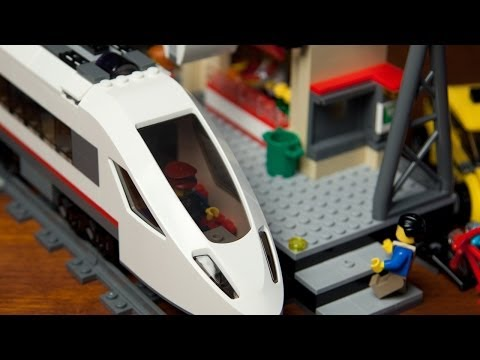 Lego High Speed Passenger Train 60051 with Train Station 60050 [Unboxing – Build – Review]