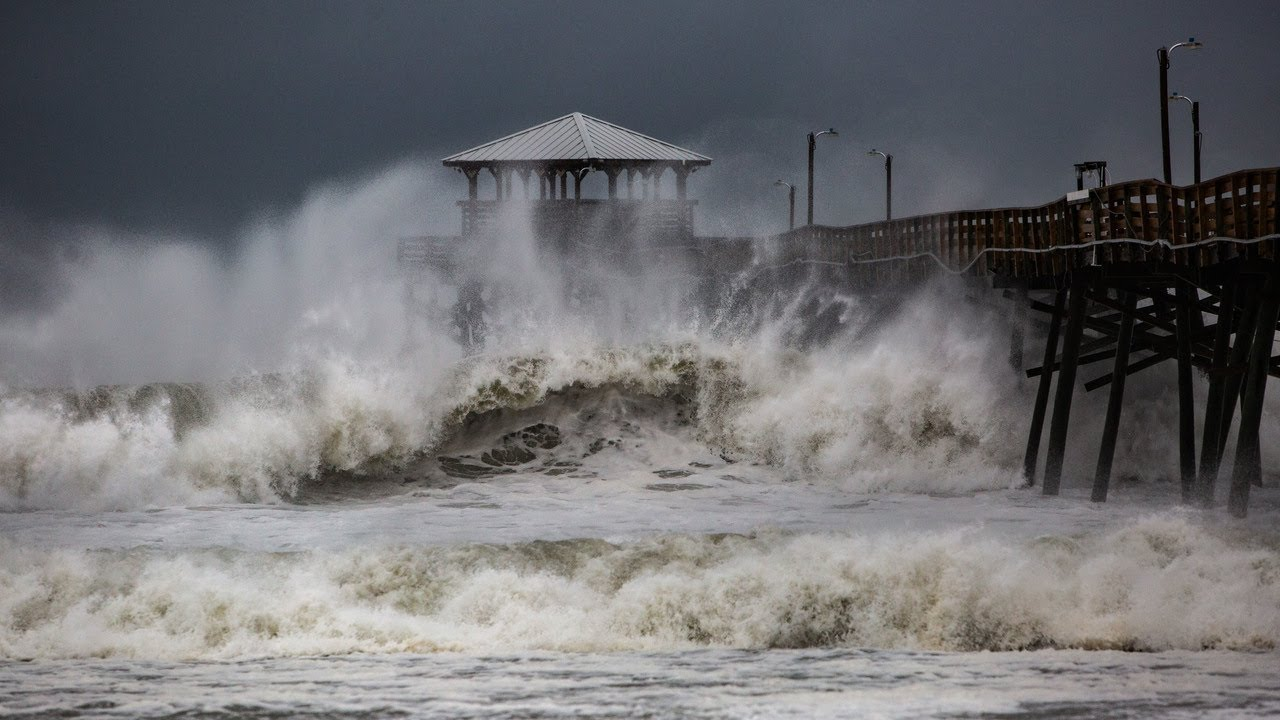 Waves Slam Oceanana Pier In Atlantic Beach As Hurricane