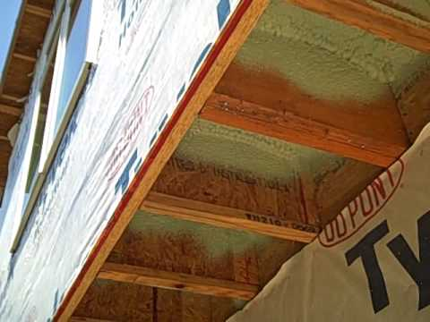 St Augustine Florida home inspector shows spray foam insulation of cantilever