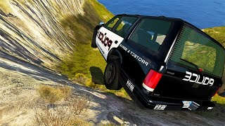 BeamNG drive - Police Cars Cliff Drops #5 | BeamNG-Destruction