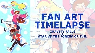 Fan Art Timelapse: Gravity Falls + Star vs the Forces of Evil