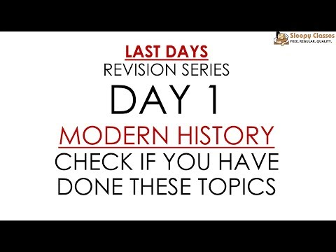 Day 1 (Topic List Only) - Modern History for Prelims || UPSC || IAS
