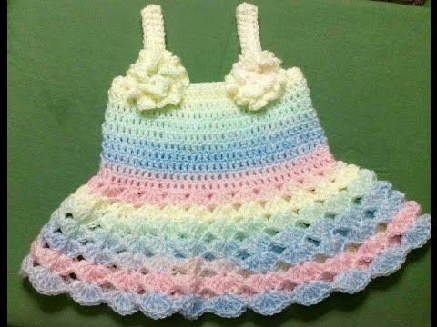 Cách Móc Váy Ngắn Cho Bé Gái - How To Crochet  Baby Dress