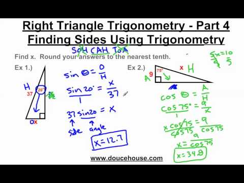 Right Triangle Trigonometry - Finding Sides - YouTube