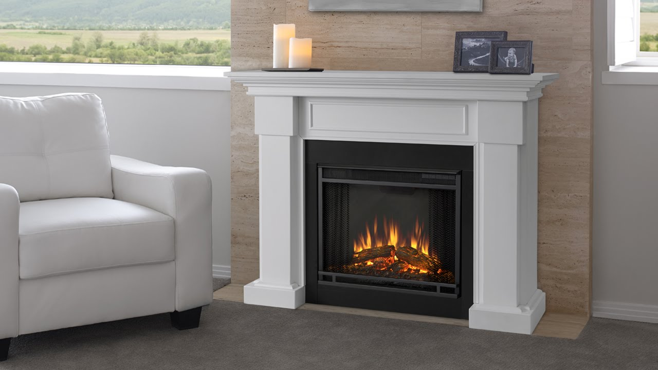 Real Flame - Hillcrest Fireplace Mantel - YouTube