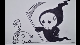 How To Draw Kawaii Manga Characters 3 - Grim Reaper (Step By Step)