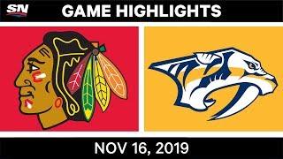 NHL Highlights   Blackhawks vs Predators - Nov. 16, 2019