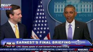 SURPRISE: President Obama Pays TRIBUTE to Josh Earnest @ FINAL White House Daily Press Briefing -FNN