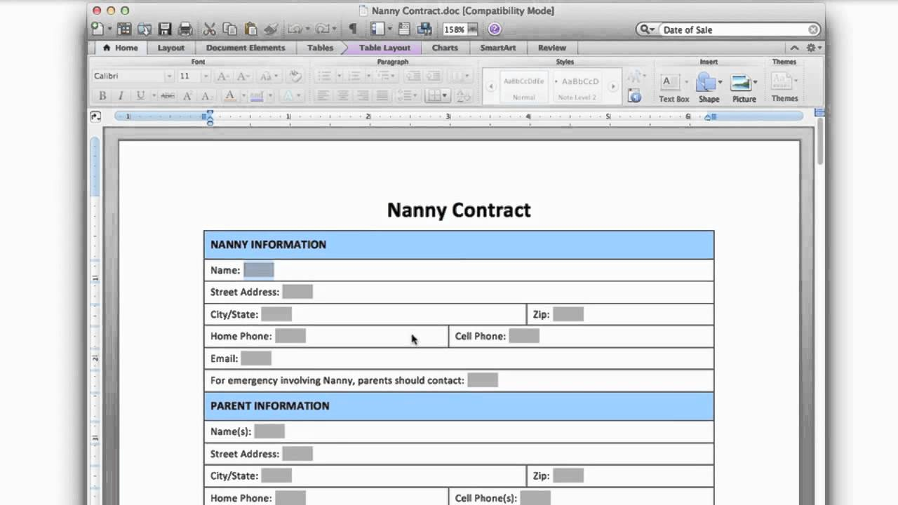 nanny contract form