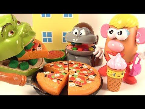 Shrek et le Singe Mangent de la Pizza avec Mme Patate