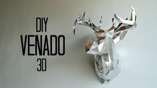 DIY cabeza de venado 3D en cartulina-papercraft