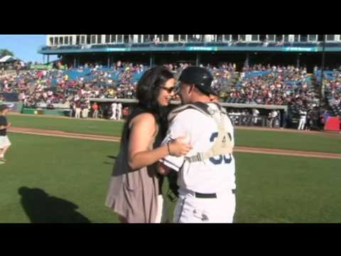 First Pitch Turns Into A Proposal At Fifth Third Ballpark Youtube