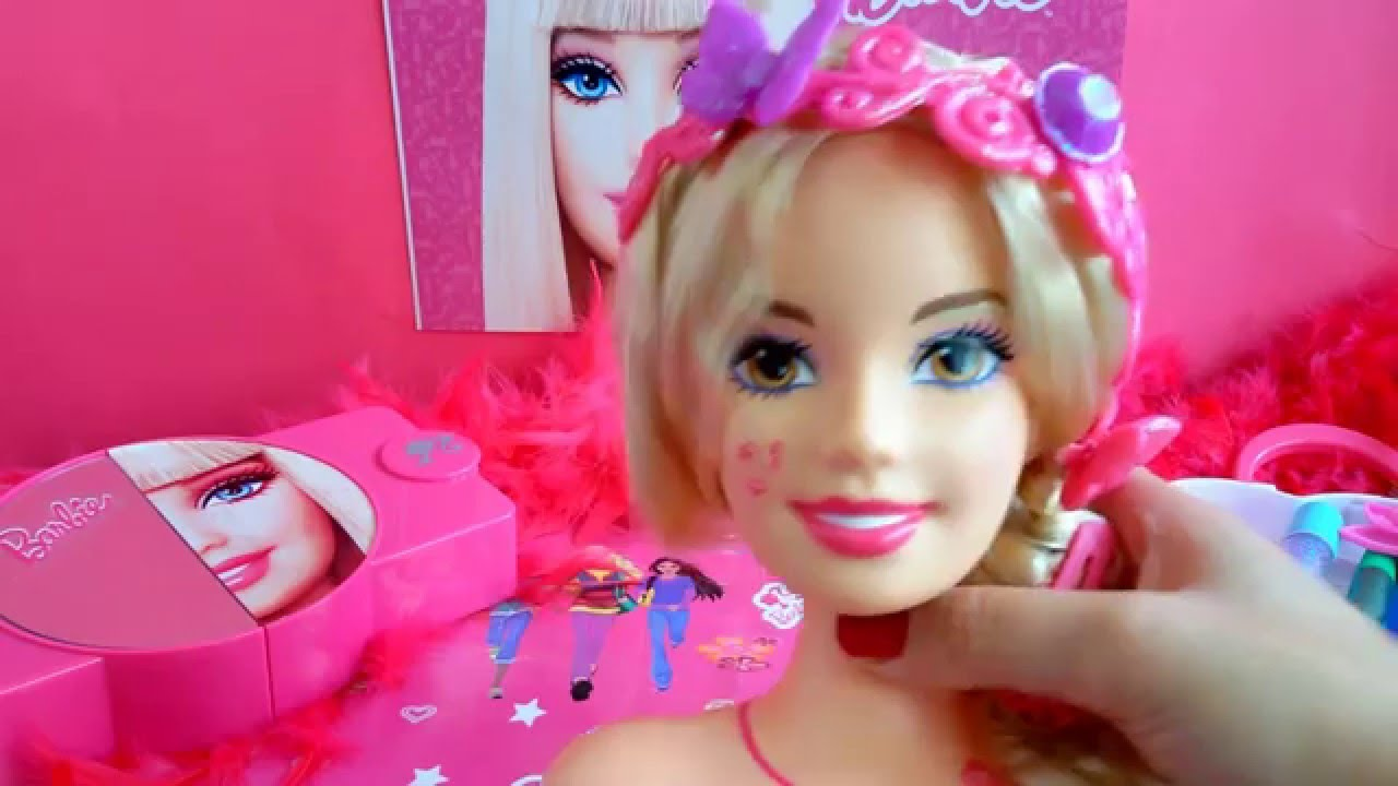 barbie different hair style tutorials and makeup set hair brush