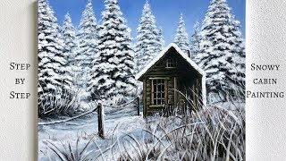 STEP by STEP Snowy Cabin Acrylic Painting (ColorbyFeliks)