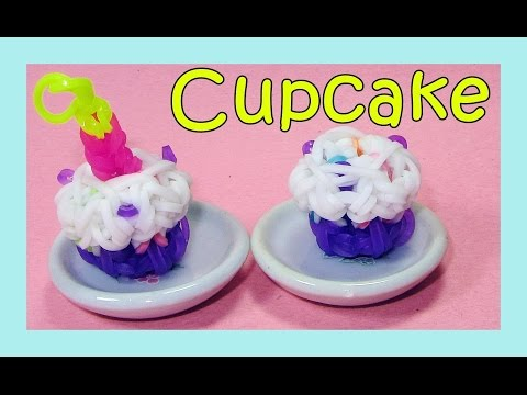 Rainbow Loom Charms 3D Loom Bands Cupcake - How to Make Tutorial