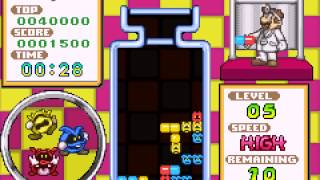 Dr. Mario  and  Puzzle League (GBA) - Vizzed.com GamePlay/Showoff-Dr. Mario Level 5 in 1:01