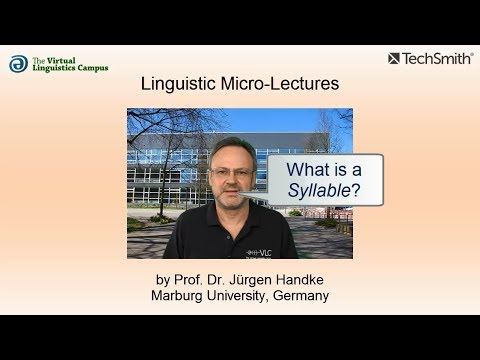 Linguistic Micro-Lectures: The Syllable