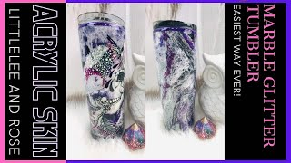 How to MARBLE a GLITTER TUMBLER ACRYLIC SKIN