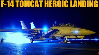 1994 Damaged F-14 Tomcat Emergency Carrier Night Landing Without Avionics   Reenactment