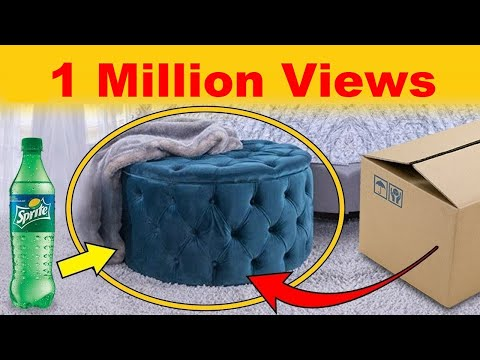 How to Make Beautiful Ottoman Seat With Plastic Bottle & Cardboard |  Plastic bottle craft ideas