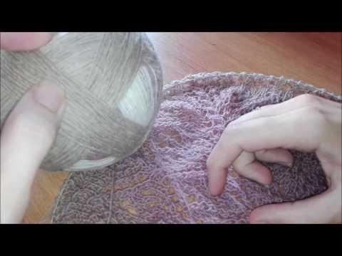 """Шаль """"Осенний букет"""". Часть √1. История вязания. Пряжа кауни,  бисер,  нуппы."""