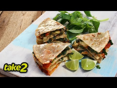 Kale and Basil Vegetarian Quesadilla Recipe