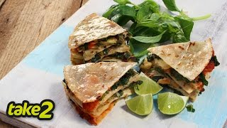 Kale And Basil Quesadilla Recipe - Vegetarian Recipe