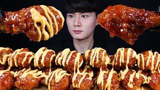 나쵸 치즈 양념 치킨 먹방ASMR MUKBANG SWE…