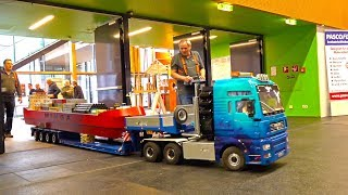 vuclip BIG SCALE HEAVY HAULAGE RC TRANPORT BOOT! MAN! CONTAINER-SHIP! RC HEAVY TRUCK TRANSPORT!