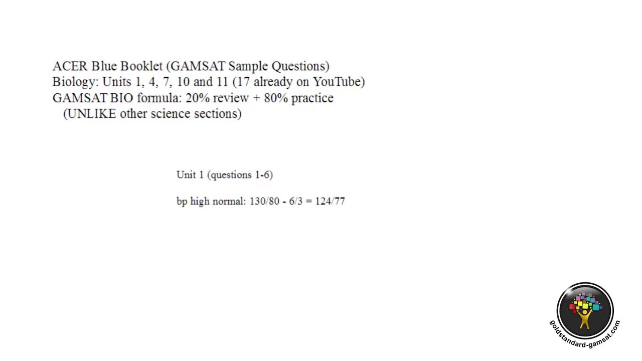 Gamsat Biology Sample Questions Unit 1 Q 1 To 6 Blue Booklet Youtube