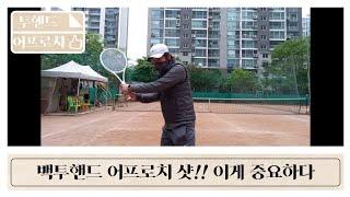 투핸드 어프로치 샷!!   테니스의신(shin) 백투핸…