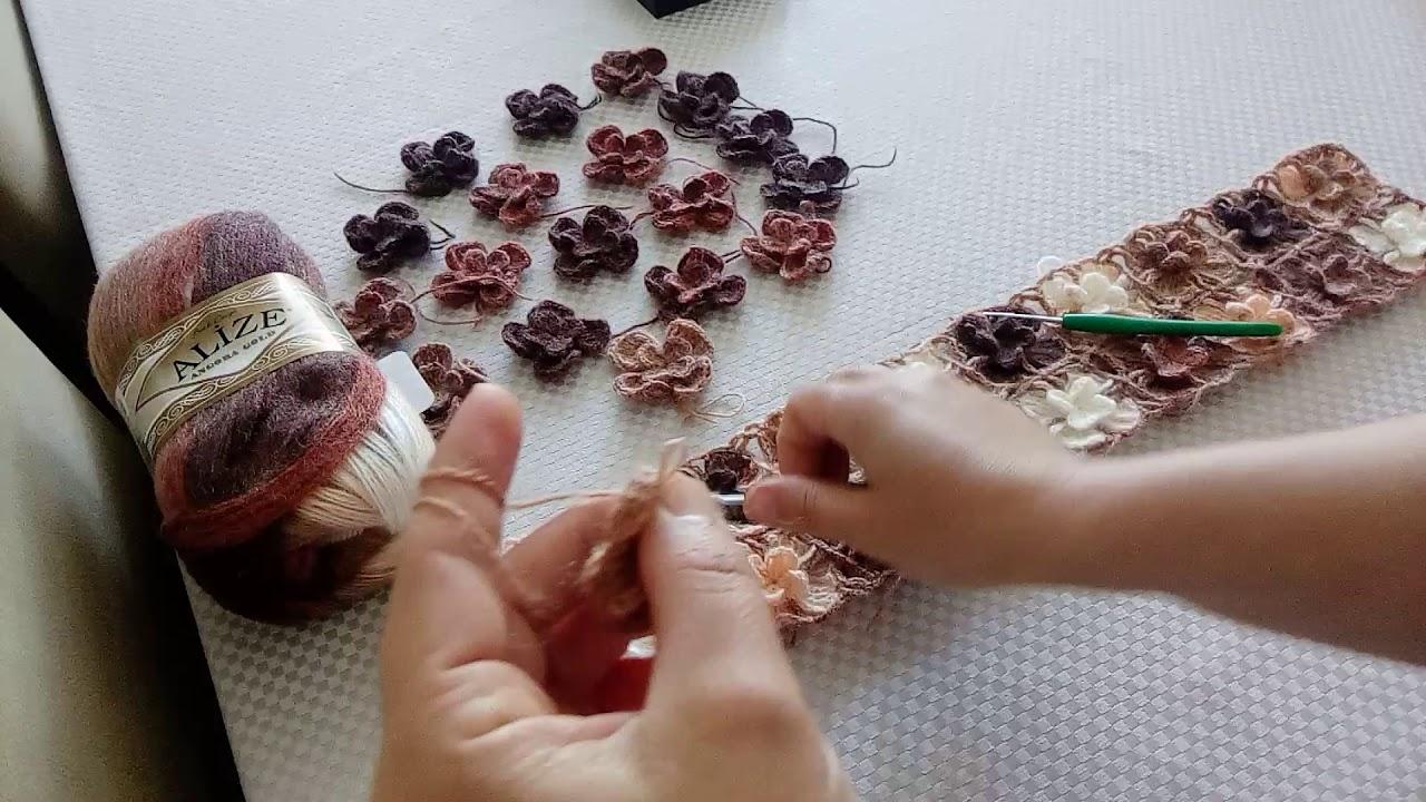 Çiçek motifli yelek yapılışı 1.bölüm ( motif yapımı ) #anneyelekleri