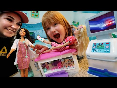 BROKEN LEG Barbie!!  Doctor Adley visit for an X-RAY and emergency check up! new play pretend cast