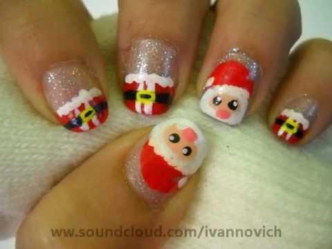 Christmas nail design, cute santa - diseño de uñas navideño santa claus