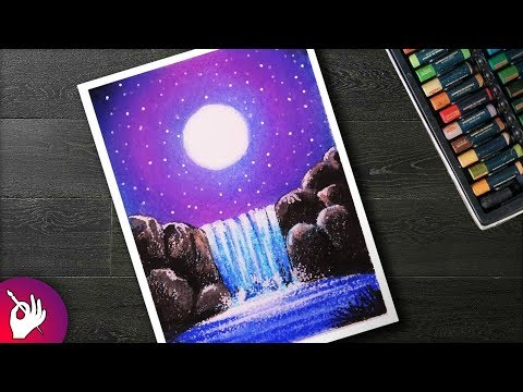 How To DRAW Moonlight Waterfall Scenery With Oil Pastels Step By Step