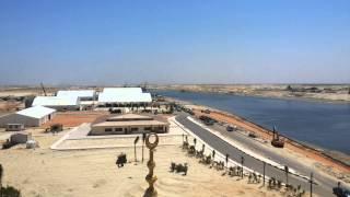 مشهد عام لمنصة الافتتاح بقناة السويس الجديدة  من اعلى مأذنة المسجد