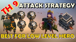 🛡CLASH OF CLANS🛡BEST TOWN HALL 9 (TH9) WAR ATTACK WITH LOW LEVEL HERO - LALOON ATTACK STRATEGY