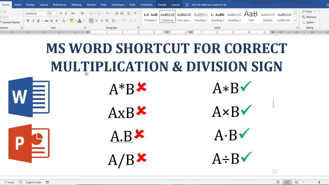 Shortcut for the correct Multiplication and Division Symbol (sign) in Ms  Word