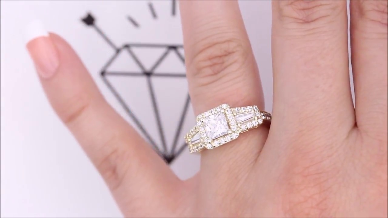 Vintage Style Moissanite Engagement Ring Halo With Diamond Baguettes ...
