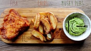 Delicious Fish and Chips with Mushy Peas recipe