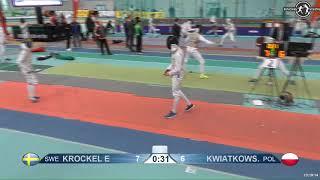 2018 1234 T256 M F Individual Halle GER European Cadet Circuit RED KROCKEL SWE vs KWIATKOWSKI POL