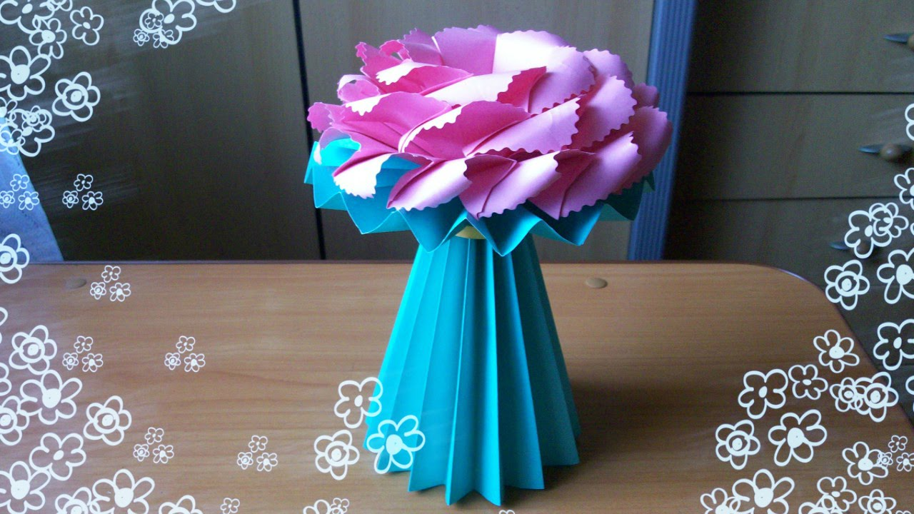 Diy amazing handmade crafts how to make an origami vase for paper how to make an origami vase for paper flowers youtube reviewsmspy
