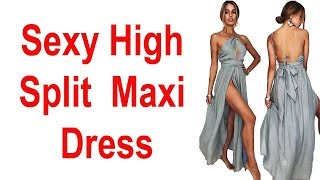 Sexy High Split Halter Vintage Party Elegant Maxi Dress