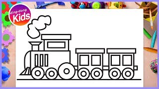 Train drawing With Simple Shapes for Kids | How to Draw Basic Shape