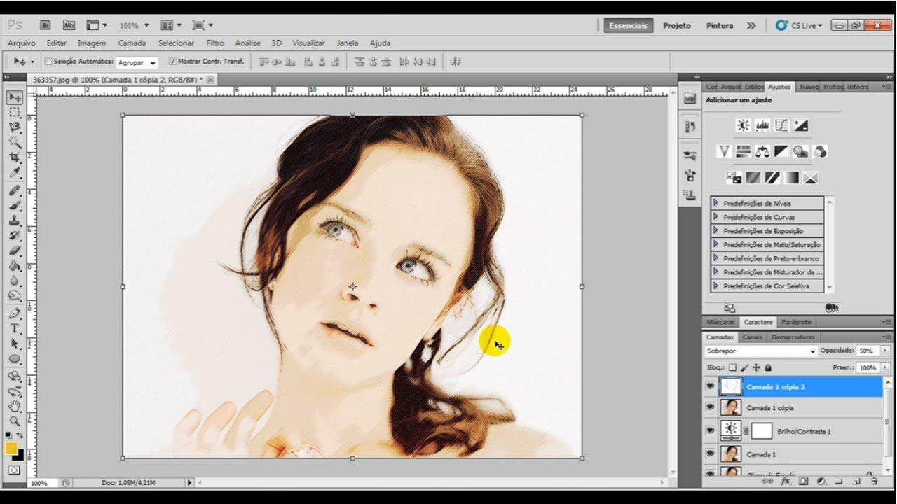 Transformando foto em desenho photoshop online 38